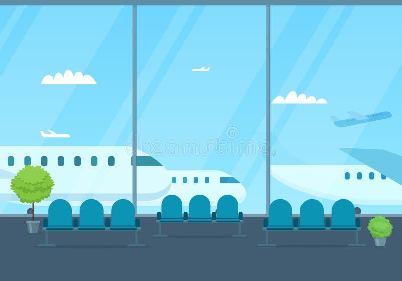 Lotniskowy hol Widok pas startowy royalty ilustracja