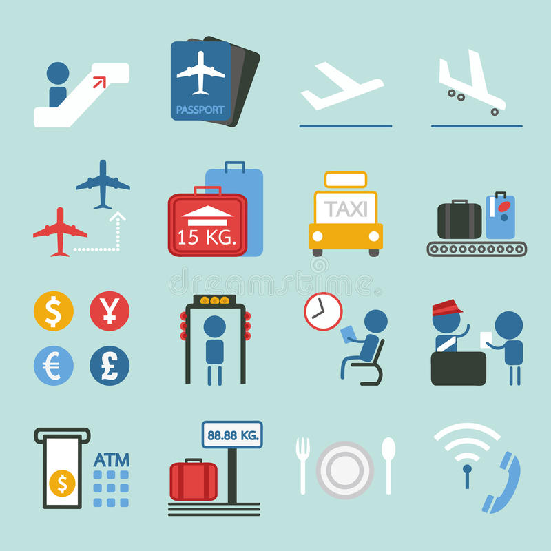 Lotniskowy ikona projekt ustawia II ilustracja wektor