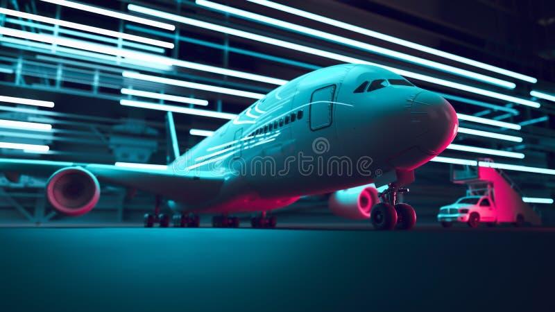 Lotniskowy noc transport powietrzny ilustracji