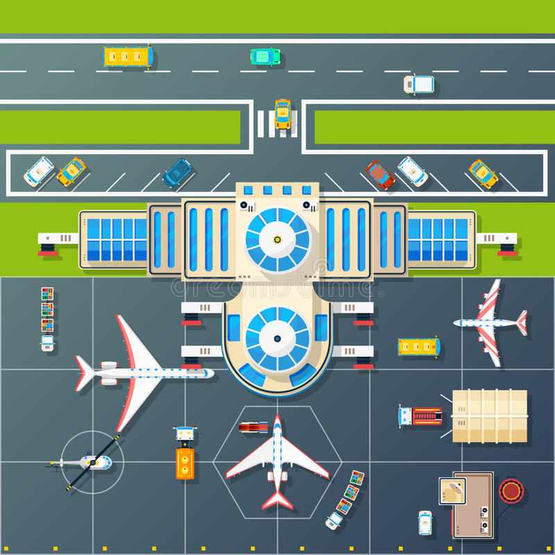 Lotniskowy parking Odgórnego widoku mieszkania wizerunek ilustracja wektor
