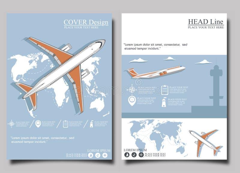 Lotniskowy plakatowy ustawiający z samolotem ilustracja wektor