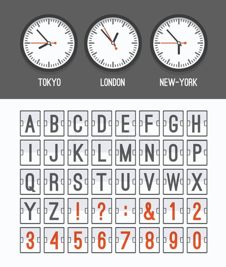 Lotniskowy przyjazdu stołu abecadło z charakterami i liczbami dla odjazdów, przyjazdy, zegary, odliczanie royalty ilustracja
