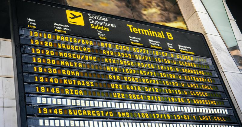 Lotniskowy rozkład zajęć z liniami lotniczymi i miasta miejsce przeznaczenia Śmiertelnie 2 fotografia stock