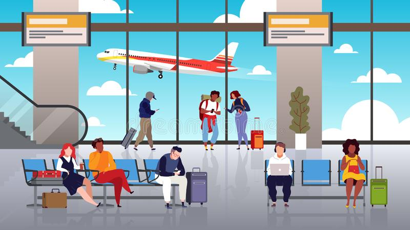 Lotniskowy Terminal Ludzie podróż turysty z bagaż kontroli sali wyjściowych lotniskowych pasażerów start przelotowym samolotem ilustracja wektor