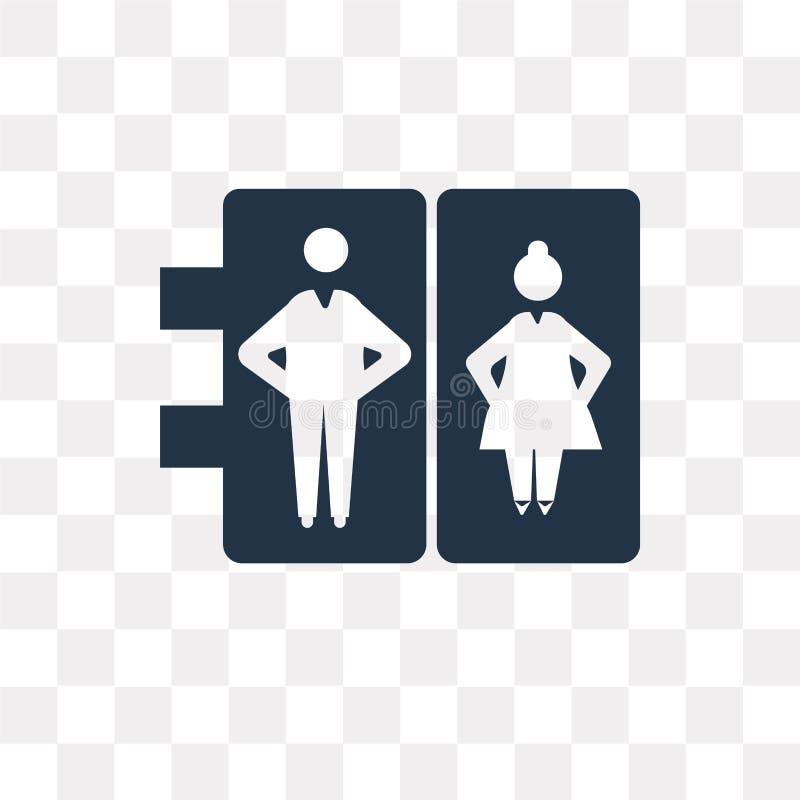 Lotniskowych toalet wektorowa ikona odizolowywająca na przejrzystym tle, royalty ilustracja