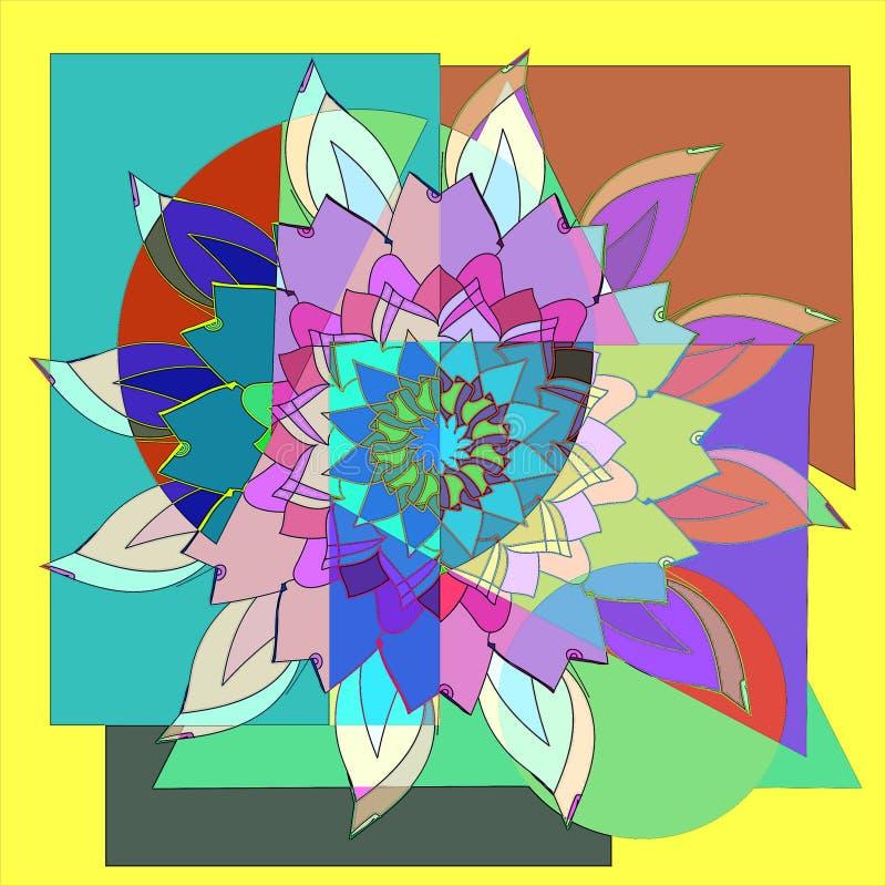 LOTO-BLOMMAMANDALA f?rgrikt geometriskt f?r bakgrund CENTRAL BLOMMA I VITT, GRÖNT, BLÅTT, PURPURFÄRGAT, RÖTT stock illustrationer