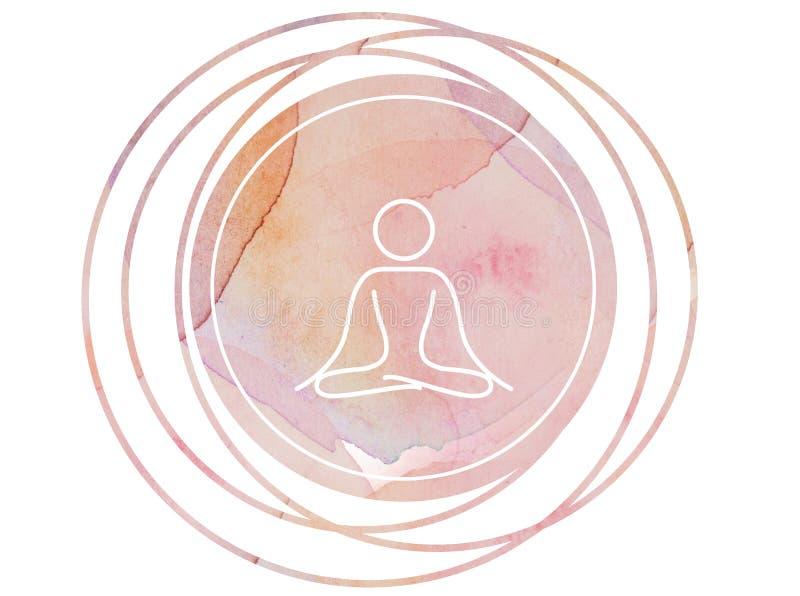 Loto circular del símbolo de la meditación de la mandala de la acuarela imagen de archivo