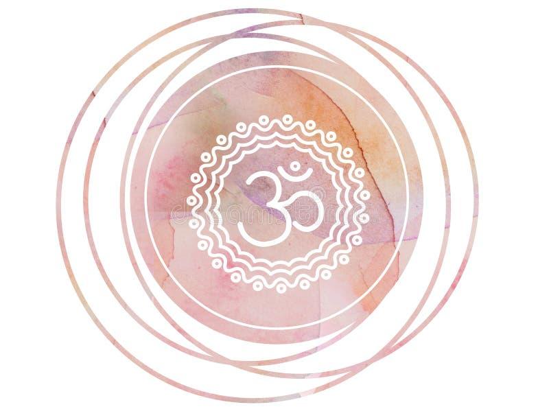 Loto circular del símbolo de OM Aum de la mandala de la acuarela fotografía de archivo