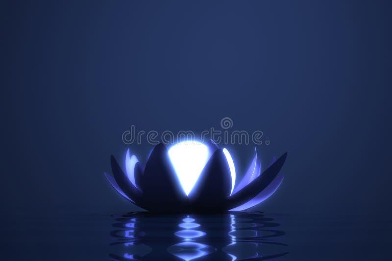 Loto de la flor del zen con la esfera que brilla intensamente stock de ilustración