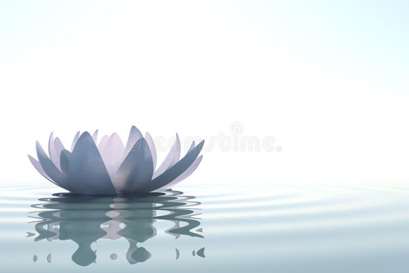 Loto de la flor del zen en agua stock de ilustración