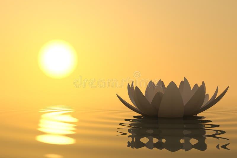 Loto de la flor del zen en puesta del sol stock de ilustración