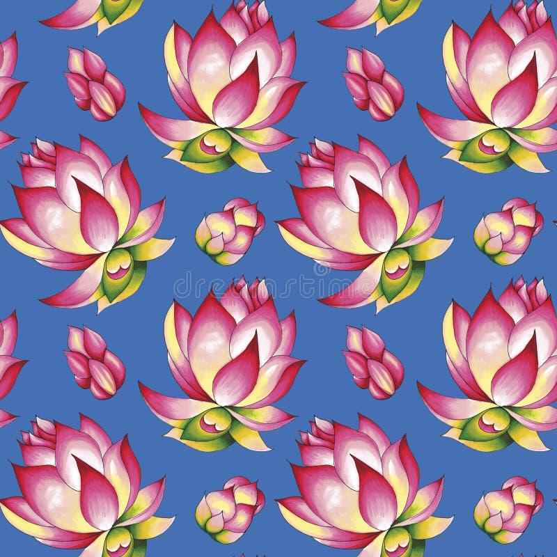 Loto en flor Trazado a mano de un patrón impecable Ilustración de los marcadores de alcohol Aislado en un fondo azul imágenes de archivo libres de regalías