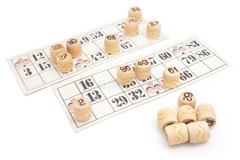 Loto gemowi kartony odizolowywający (Bingo) zdjęcia stock