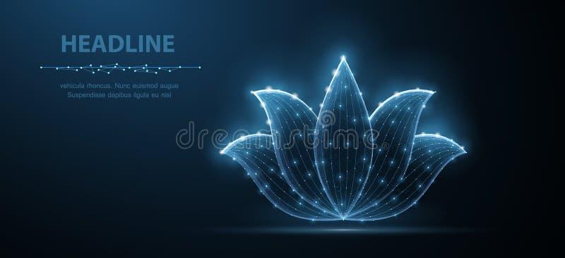 loto Icona astratta del fiore di loto di vettore isolata su fondo blu La bellezza naturale, ornamento floreale, si rilassa l'yoga royalty illustrazione gratis