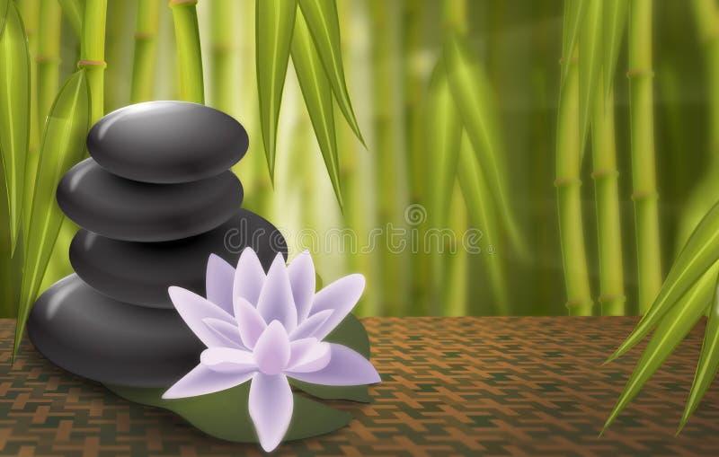 Loto, rocas del balneario, fondo de bambú stock de ilustración