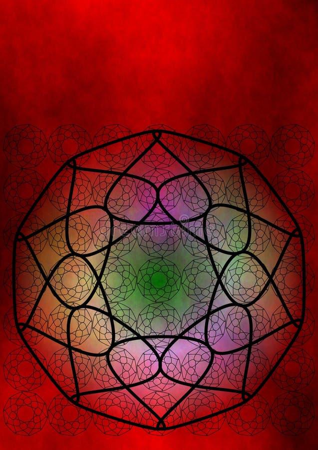 Loto rojo del chakra stock de ilustración