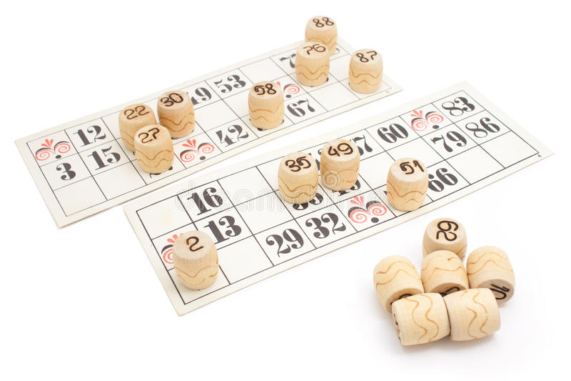 Loto spelar isolerade papp (för bingoen) arkivfoton
