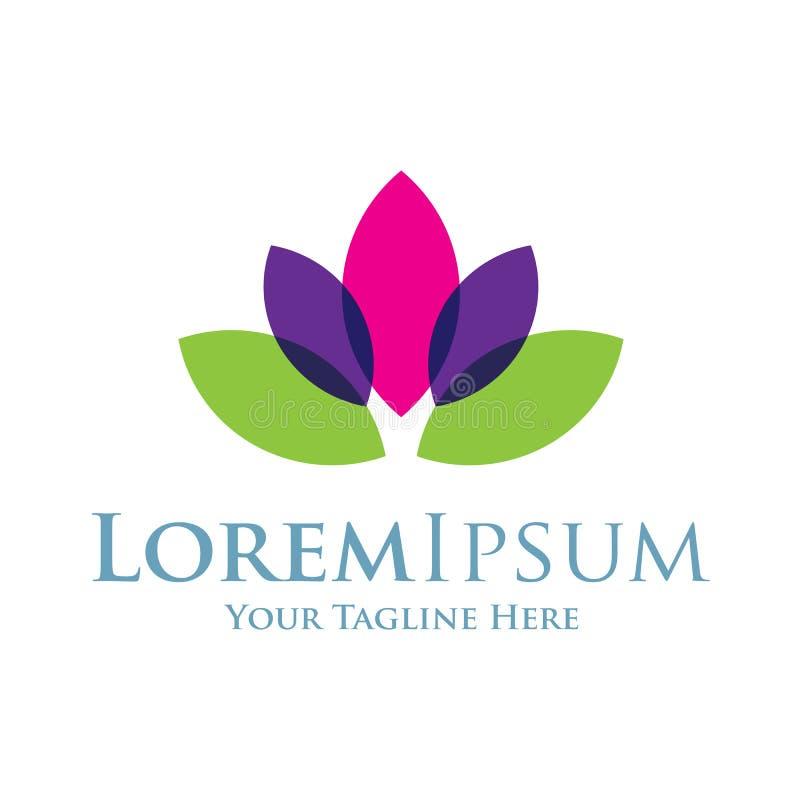 Lotos лилии воды красивые цветут логотип элементов значка простой иллюстрация вектора