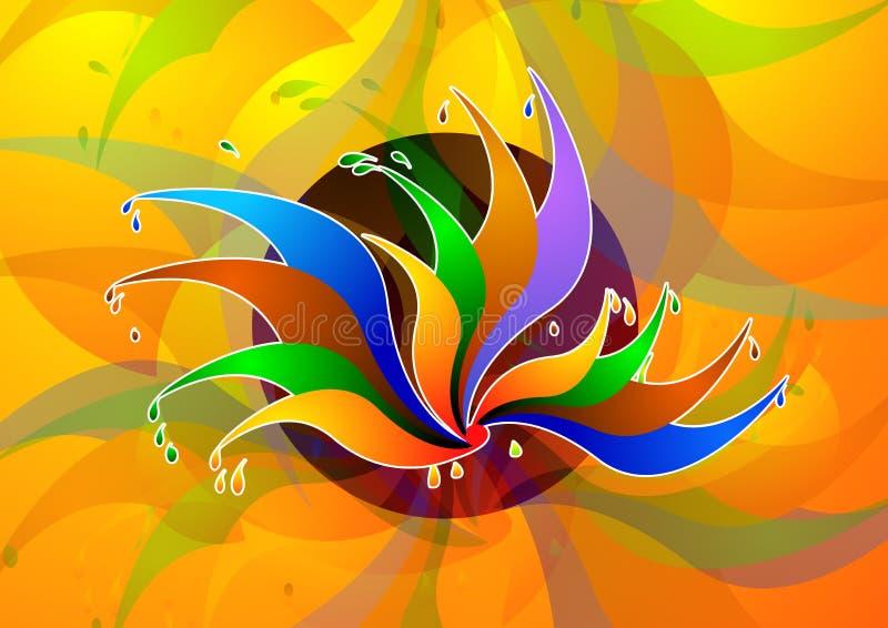 Lotos-Auslegung im Farbenhintergrund stock abbildung