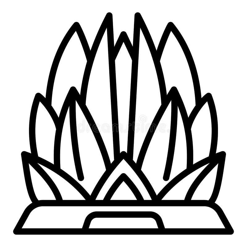 Lotosowa ?wi?tynna ikona, konturu styl ilustracja wektor