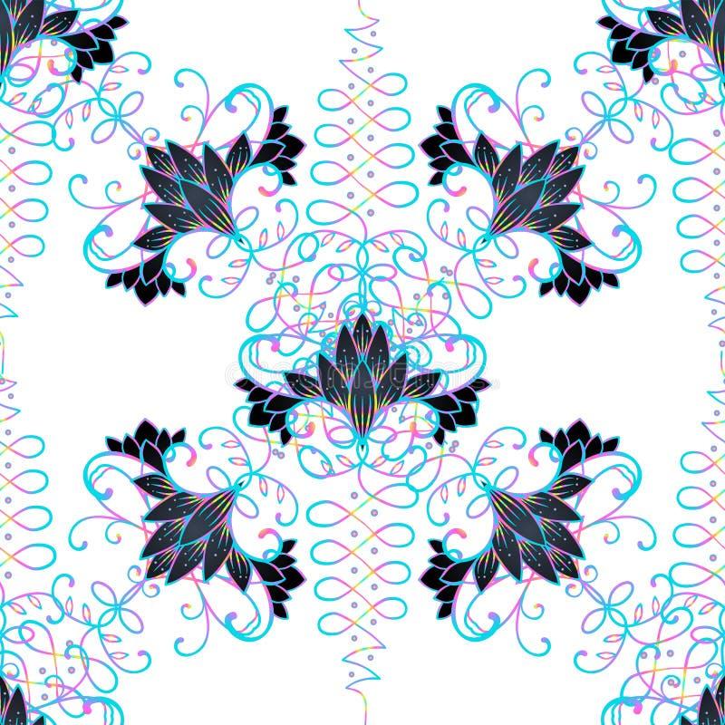 Lotosowa i Święta geometria bezszwowy wzoru Unamole Hinduski symbo ilustracja wektor