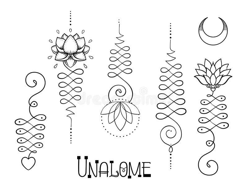 Lotosowa i Święta geometria Unamole hinduski symbol mądrość i pa ilustracja wektor
