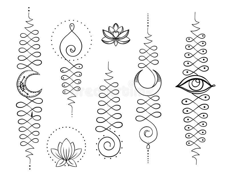 Lotosowa i Święta geometria Unamole hinduski symbol mądrość i pa royalty ilustracja