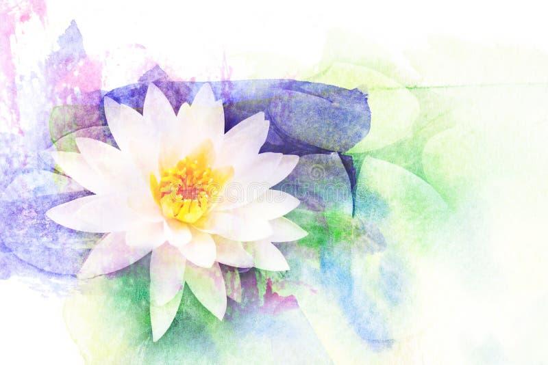 Lotosowego kwiatu akwareli ilustracja ilustracja wektor