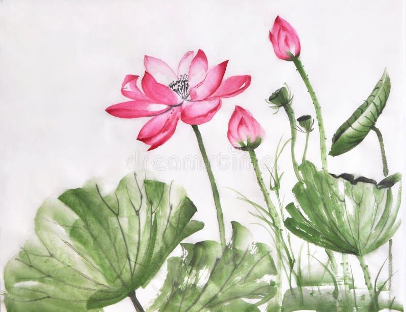 Lotosowego kwiatu akwareli obraz royalty ilustracja