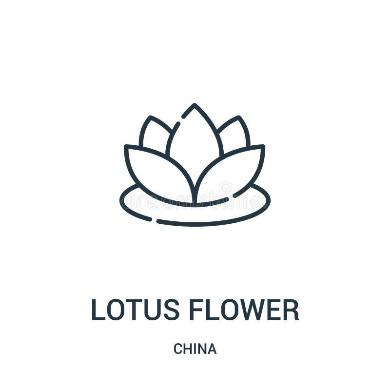 lotosowego kwiatu ikony wektor od porcelanowej kolekcji Cienka kreskowa lotosowego kwiatu konturu ikony wektoru ilustracja Liniow royalty ilustracja