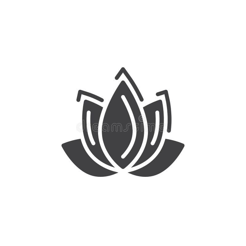 Lotosowego kwiatu ikony wektor, wypełniający mieszkanie znak, stały piktogram odizolowywający na bielu ilustracji