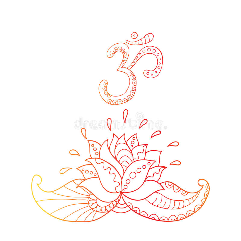 Lotosowego kwiatu sylwetka om i symbol lily wody ilustracji
