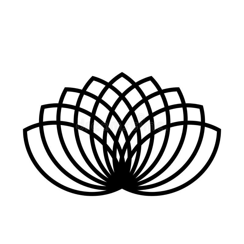 Lotosowej rośliny symbol Zdrój i wellness tematu projekta element Płaskiego czerni wektoru ilustracja ilustracja wektor