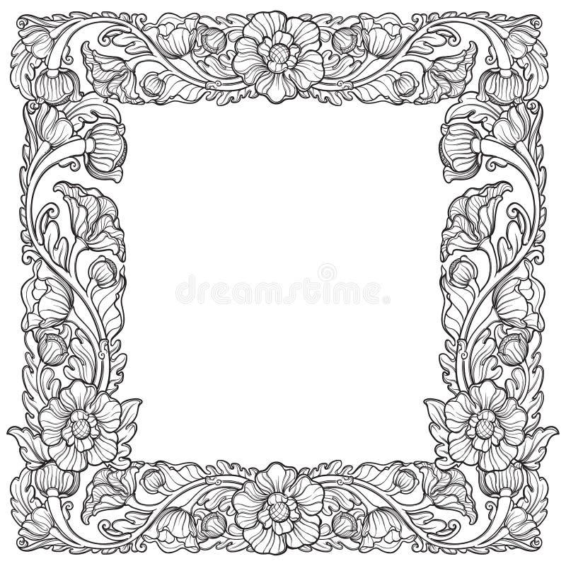 Lotosowi kwiaty układający w w zawiły sposób kwadrat ramie Popularny dekoracyjny motyw w południowo-wschodni Azja sprawdź projekt royalty ilustracja