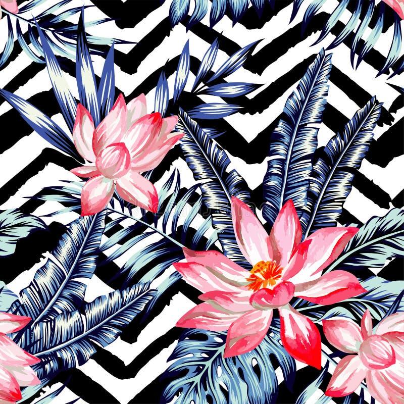 Lotosowy drzewka palmowego i banana liść ilustracja wektor
