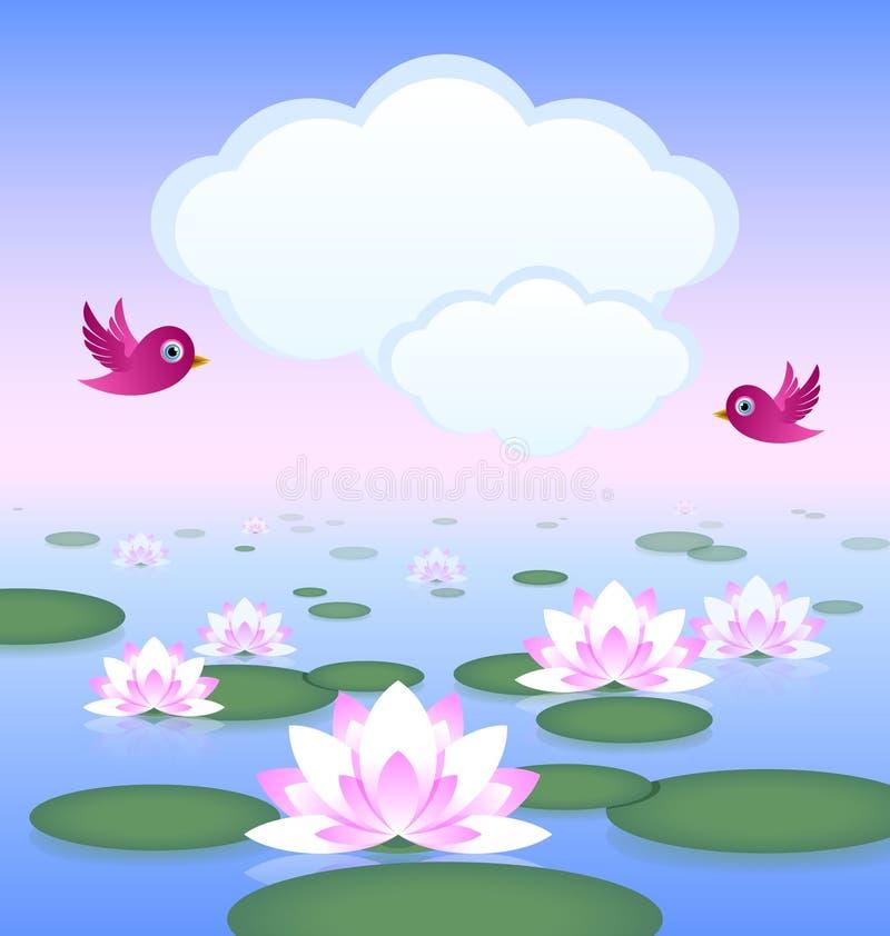 Lotosowy staw ilustracja wektor
