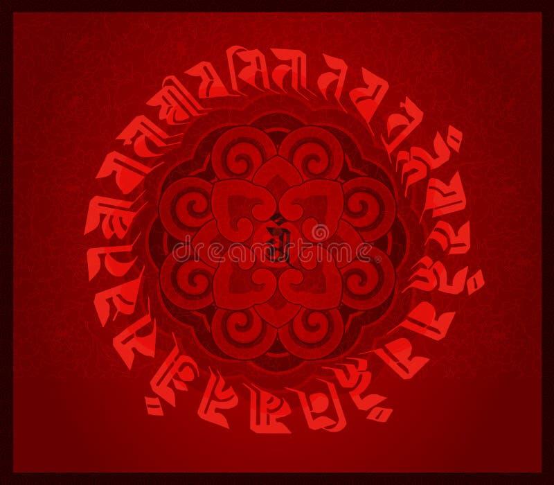 Lotosowy totem i buddyjscy święte pisma royalty ilustracja