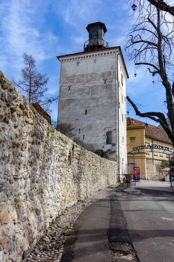 LotrÅ ¡ Ä  ak塔在萨格勒布上部镇 免版税库存图片