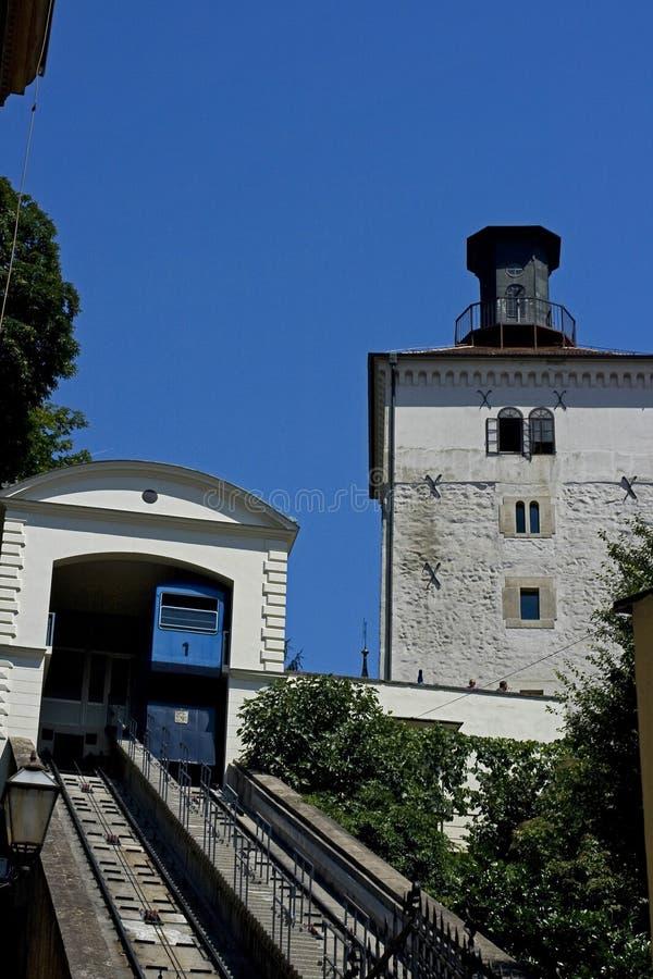 Lotrscak塔和calblecar 免版税库存图片