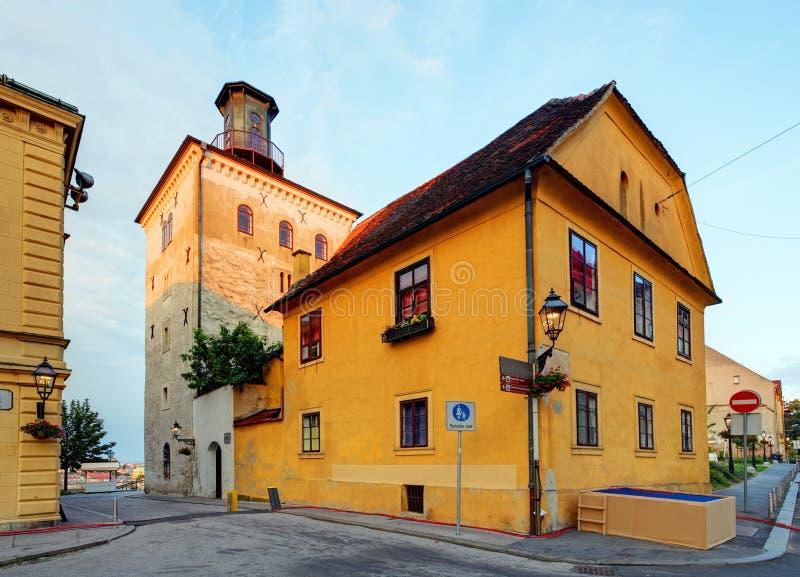 Lotrscak塔在萨格勒布,克罗地亚 库存照片