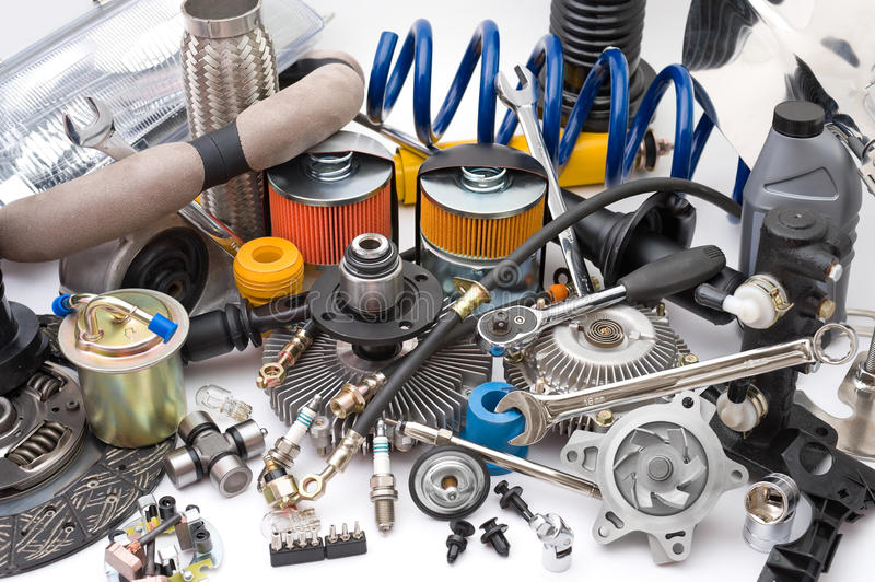 Lots of auto parts royalty free stock photography