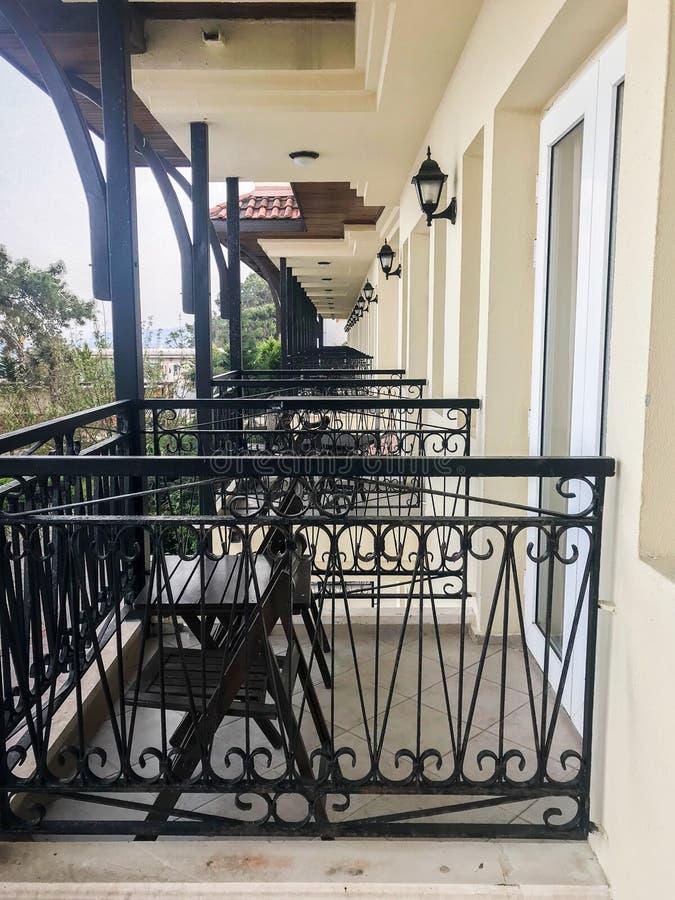 Balconies in one line. stock photos