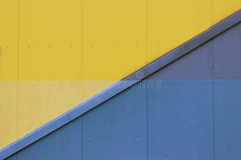 Lots Of Blue And Yellow Paint On The Wall Stock Image - Image of ...