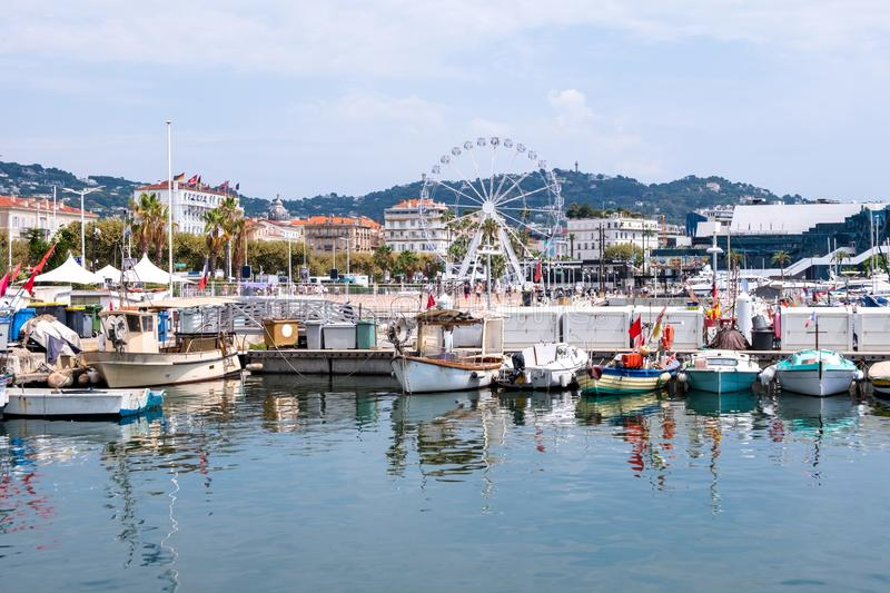 Lots of boats in the sea port of Cannes stock image