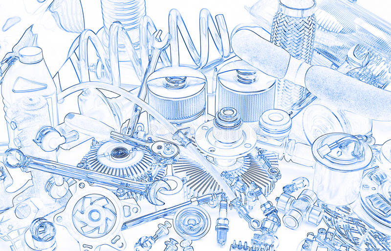 Lots of car parts, sketch stock photo. Image of mechanical - 71072412