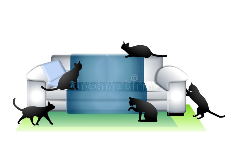 Lots of Cats In The House. An illustration featuring 5 cats sitting around a sofa in a living room vector illustration