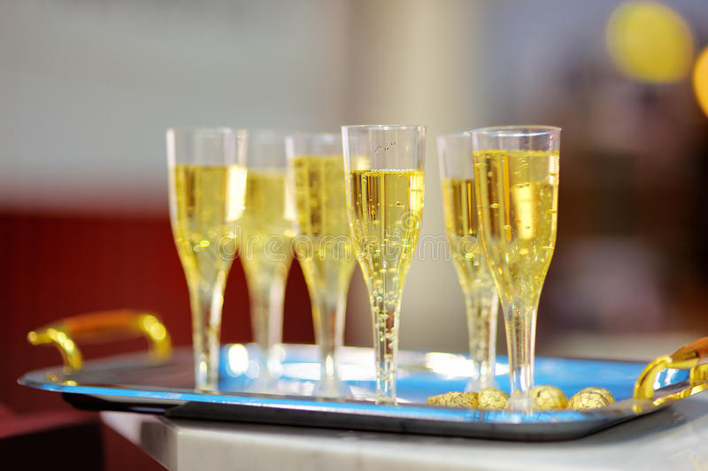 Lots of champagne glasses stock image