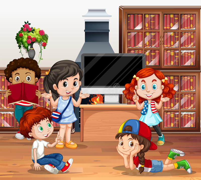 Lots of children reading book in library vector illustration