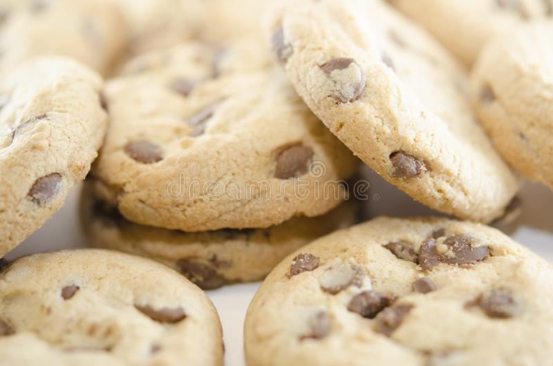 Lots of chocolate chip cookies. Close-up on baking. Delicious homemade dessert. stock images