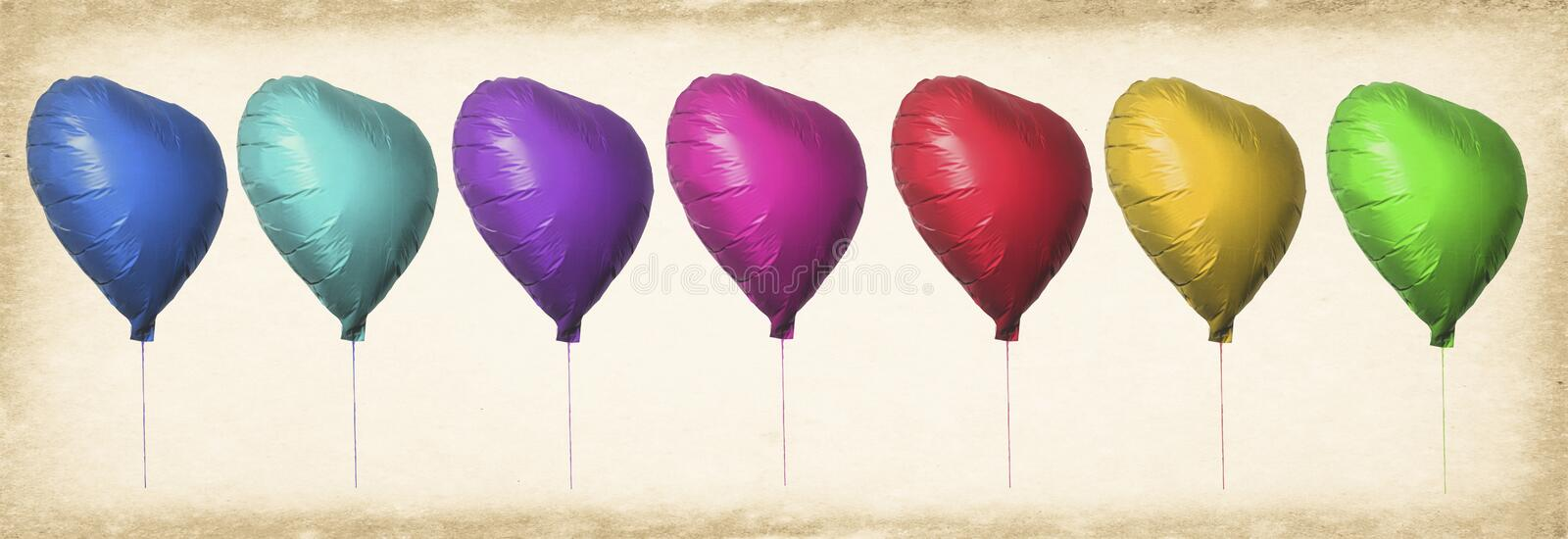 Lots of color heart balloons. In a line toned image royalty free stock photo